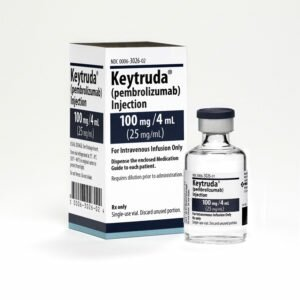 Keytruda 100mg/4mL Vial and Carton. Photo courtesy of Merck Sharp & Dohme Corp., a subsidiary of Merck & Co., Inc.
