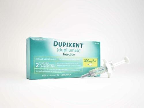 Product shot of Dupixent (dupilumab).